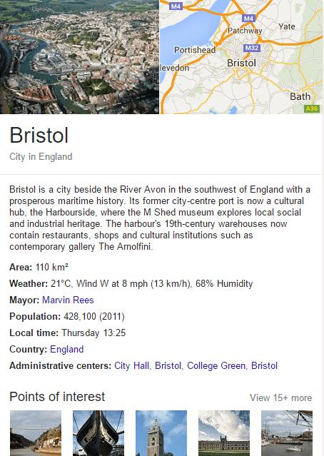 Bristol city avon in Google's knowledge graph